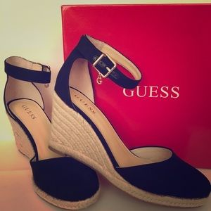 Black Guess Wedge Sandals